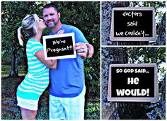 facebook pregnancy announcement, christian pregnancy announcement. Our little miracle baby . We're pregnant! Cute Pregnancy Announcement, Baby Shower Announcement, Pregnancy Photos, Pregnancy Announcements, Facebook Pregnancy Announcement, Pregnancy Photography, Newborn Pictures, Maternity Pictures, Miracle Baby