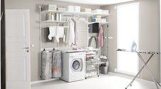 Elfa Deutschland GmbH の 北欧風 洗面所/風呂/トイレ Endlich wird Wäschewaschen zum Vergnügen! Laundry Hamper Cabinet, Laundry Room Storage, Laundry Room Design, Wall Storage, Elfa Shelving, Utility Shelves, Modular Shelving, Shelving Ideas, Laundry Room Inspiration
