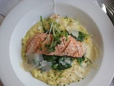 Grilled Salmon Fillet on Shrimp Risotto aboard the Napa Valley Wine Train Photo by http://pinterest.com/ElysiumHuntress/