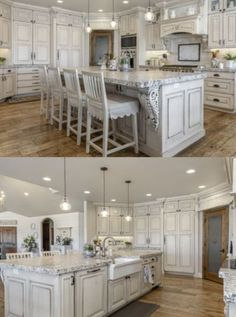 I love this farmhouse sink and the timeless cabinets. The neutral white is classy and beautiful. You will love all of these kitchens so much. The perfect touch of farmhouse, french country and rustic. French Country Kitchens, Country Farmhouse Decor, Farmhouse Style Kitchen, French Country Decorating, Rustic Kitchen, Rustic Decor, Rustic Style, Cottage Farmhouse, Diy Kitchen