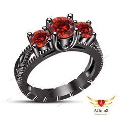1.30 CT Round Cut Red Garnet 925 Silver Three Stone Women's Engagement Ring 5 6  #Affoin8 #ThreeStoneEngagementRing
