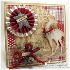Grunged & Sanded Country Christmas Card...with reindeer & rosette with star...The Funkie Junkie.