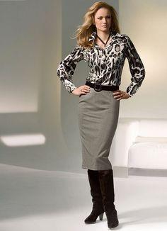 leopard print, pencil skirt & knee boots