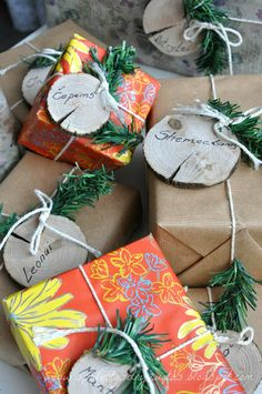 wood slice gift tags
