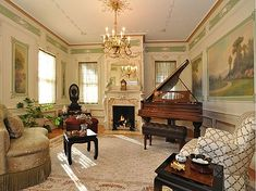 Music room in 1895 Neoclassical Colonial Revival house.