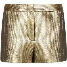 BCBGMAXAZRIA Runway Krys Short (14.545 RUB) ❤ liked on Polyvore featuring shorts, woven shorts, jacquard shorts, metallic shorts, stretchy shorts and short shorts