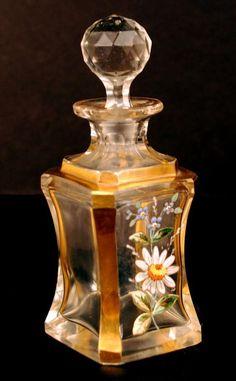 Antiguidades do século XIX francês vidro frasco de perfume.