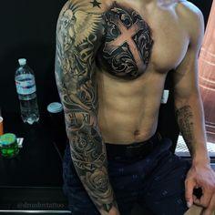 Tattoo For Guys Cross Badass 44 Ideas Cool Chest Tattoos, Chest Piece Tattoos, Dope Tattoos, Badass Tattoos, Leg Tattoos, Body Art Tattoos, Tattoos For Guys, Tattos, 10 Tattoo
