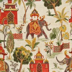 Pyrrhus Traditional by Magnolia Fabrics Traditional Fabric, Traditional Wallpaper, Bird Wallpaper, Fabric Wallpaper, Indian Illustration, Elephant Fabric, Graphic Art Prints, Textures And Tones, Indian Fabric