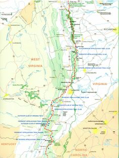Appalachian trail section 2: Virginia. NOTE: This map is oriented with ENE at the top, instead of traditional North.