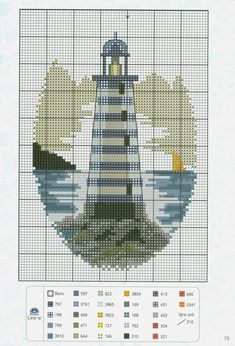 Cross-stitch Lighthouse, part 1...