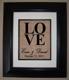 Personalisierte Sackleinen Print - LOVE - große Hochzeitsgeschenk - Engagement Present - Bridal Shower Geschenk auf Etsy, 14,70€