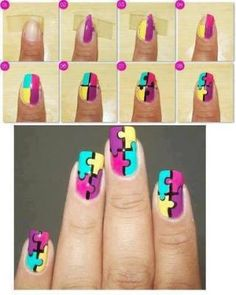 Puzzle Autism Awareness April Nail Art