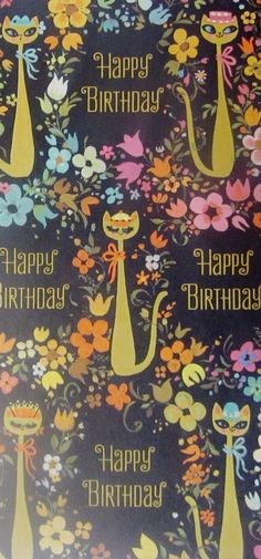Vintage Kitty Birthday Wrapping Paper