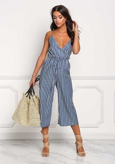 Blue Pinstripe Cropped Surplice Jumpsuit - Boutique Culture