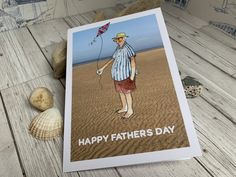 Beach Folk - Flying a Kite • greetings card from Seaside Emporium Card Reading, Happy Anniversary, Happy Fathers Day, Watercolor Illustration, Kite, Watercolor Paper, Your Cards, Seaside, Card Stock