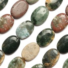 Ocean jasper flat oval semi precious 18x25mm 16 - Jasper comes in so many colours, I love it :)