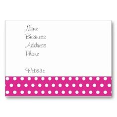 Hot Pink Fuchsia and White Polka Dots Pattern Gift Business Card Templates | Pretty Business Cards