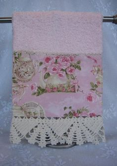 Victorian Style Hand Guest Towel Teacup Roses with Vintage Lace-home decor,towel,pink roses,teapot, teacup,vintage lace,cottage style, show towel,shabby,victorian,tea towel
