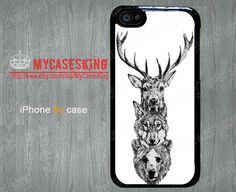 Deer Wolf Bear iPhone 5c case Deer iPhone 5c case Wolf iPhone 5c case Deer Wolf Bear art iPhone 5c Hard/Rubber case-Choose Favourite Color  by MyCasesKing, $6.99
