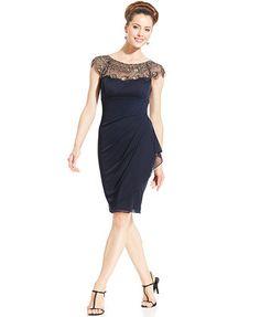 Xscape Cap-Sleeve Illusion Beaded Dress