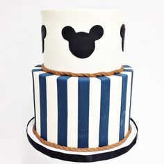 Nautical Mickey Mouse themed cake by Sailor Birthday, Sailor Party, Boy First Birthday, Birthday Ideas, Baseball Birthday Party, Carnival Birthday Parties, Mickey Party, Nautical Mickey, Nautical Party
