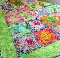 """Beautiful Quilted Lap Quilt Oma's Garden in beautiful bright Philip Jacobs Floral 58"""" x 78"""" From QuiltLover on ETSYhttp://www.etsy.com/listing/98079858/quilted-lap-quilt-omas-garden-in?ref=af_new_item"""