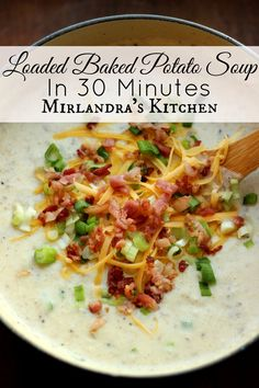 This Loaded Baked Potato Soup is creamy and easy to make on a weeknight in 30 minutes. Everybody loves this hearty winter dish full of bacon.