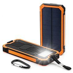 Portable Solar Power Bank External Backup Battery Charger