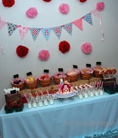 Farm Themed dessert table for a 2 year old girl! Love the colors!