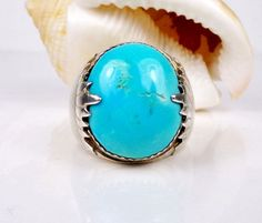 MENS ZUNI NATIVE AMERICAN STERLING SILVER TURQUOISE SIGNED BIKER ROCKER RING #Handmade #Solitaire