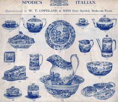 Spode History:Blue Italian early advertisement
