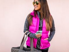 haute off the rack, pink north face vest, activewear vest, cute activewear, women's activewear, MZ Wallace Metro Tote, nike Free 5.0 running shoes, fitness style, activewear leggings, gym bag, north face nuptse 2 vest, pink vest, puffer vest, quilted backpack, gym backpack