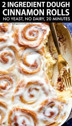 Magic 2 Ingredient Dough Cinnamon Rolls made with NO yeast! 20 minutes to make these fluffy and light vegan and gluten free cinnamon rolls!