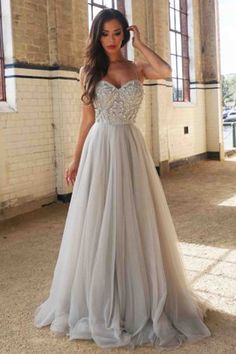 Beautiful gray tulle sequins prom dress