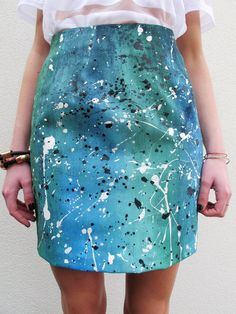 Paint Splatter Skirt. Hilarious for teaching. Wear on painting days so no matter what happens, it blends in