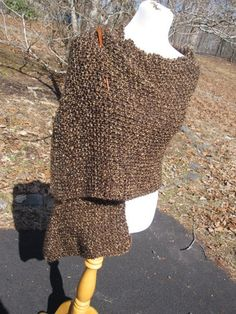 Chocolae Brown Knit Shawl in Homespun with Pocket or by PoppyLesti, $75.00