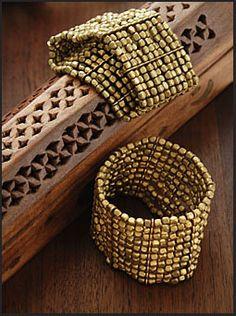 Beaded Brass Bracelet Cuffs