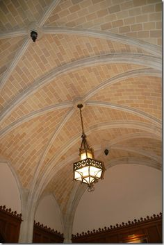 Groin vaulted ceiling with brick