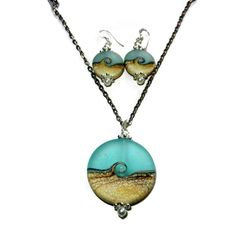 Light Blue Ocean Wave Necklace and Earring by CloudNineDesignz