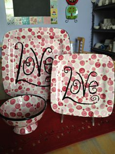 Valentines Day.....paint your own pottery for next time  at the wilderness and visit polka dot pots