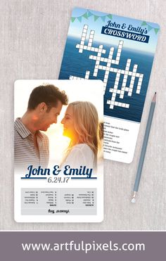 Fun wedding crossword game for the reception! Include your own custom questions and photos, making a unique activity that guests will enjoy. Example shows a beach wedding theme with ocean scenery. #weddingcrossword #crosswordpuzzle #weddinggames #weddingstationery #funwedding #beachwedding #uniqueweddingideas #oceanwedding #customstationery #weddinginspiration Wedding Party Games, Brunch Wedding, Wedding Day, Wedding Signage, Wedding Programs, Custom Stationery, Wedding Stationery, Unique Invitations, Wedding Invitations