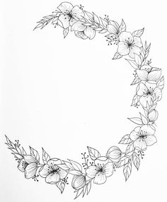 Got a quick crescent flower wreath last night with some new . - Got a quick crescent-shaped floral wreath last night with a few new … # floral wreath - Floral Tattoo Design, Flower Tattoo Designs, Tattoo Designs For Women, Tattoo Women, Watercolor Clipart, Watercolor Flower, Botanical Line Drawing, Floral Drawing, Hand Embroidery Patterns