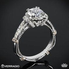 Verragio Dual Claw Split Shank Halo Diamond Engagement Ring from the Verragio Parisian Collection.
