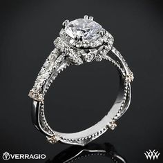 Verragio Dual Claw Split Shank Halo Diamond Engagement Ring from the Verragio Parisian Collection.