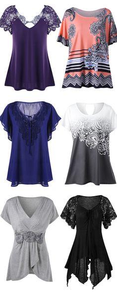 Plus Size Lace Trim Tie Front Blouse,black top,blue blouse