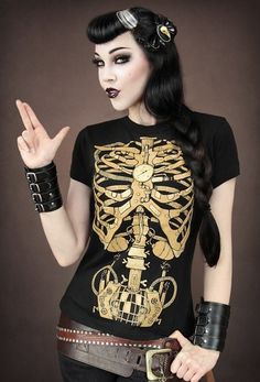 Goth Steampunk Skeleton Womens Fitted Tee - Tees