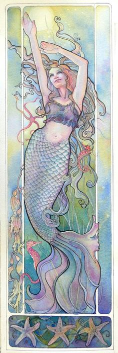 art nouveau watercolour #artnouveau #mucha #painting #art #artwork #watercolour #mermaid