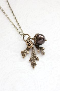 Brown Pearl Pendant Necklace Pearl Acorn Charm Nature Inspired Pinecone Branch Leaf Rustic Oak Woodland Wedding Autumn Jewelry Bridesmaids by apocketofposies on Etsy https://www.etsy.com/listing/252515645/brown-pearl-pendant-necklace-pearl-acorn
