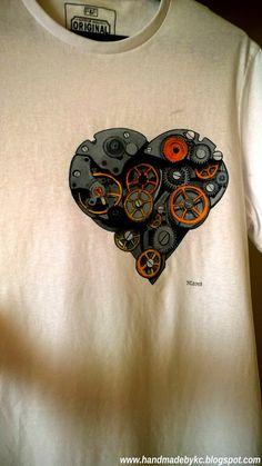 hand painted tshirt for my husband with steampunk heart ! #diy #handmade #steampunk #love #heart #tshirt #handpainted